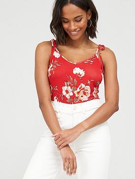 v-by-very-tie-shoulder-jersey-vest-red-print