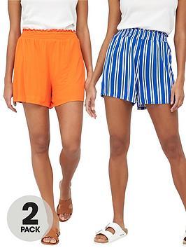 v-by-very-2-pack-shirred-hem-jersey-shorts-stripeorange