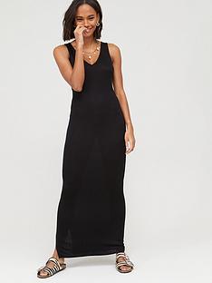v-by-very-petite-v-neck-jersey-maxi-dress-black