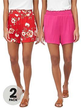 v-by-very-2-pack-shirred-hem-jersey-shorts-redpink
