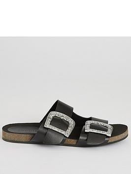 warehouse-leather-double-buckle-slider-black