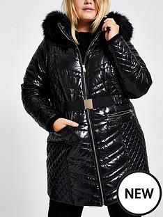 ri-plus-faux-fur-hood-high-shine-padded-coat-black