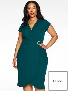 quiz-curve-wrap-diamante-buckle-dress-bottle-green