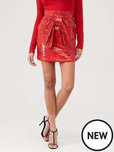 river-island-river-island-sequin-bow-front-mini-skirt-red