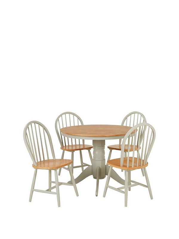 New Kentucky 100 Cm Round Dining Table 4 Chairs Littlewoodsireland Ie