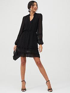 oasis-chiffon-dobby-lace-trim-shirt-dress-black