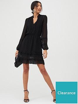 oasis-chiffon-dobby-lace-trim-shirt-dress-black