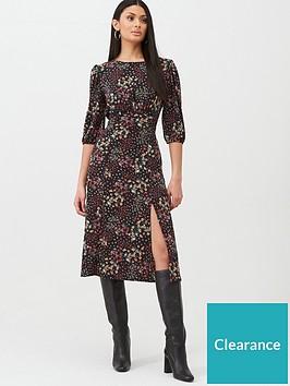 oasis-mixed-ditsy-floral-empire-line-midi-dress-blacknbsp