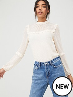 oasis-dobby-chiffon-lace-trim-sleeve-top-off-white