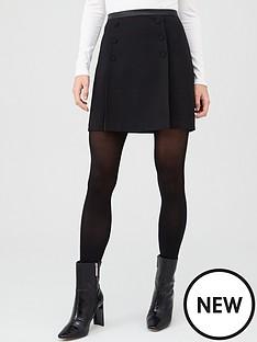 oasis-button-detail-mini-skirt-black