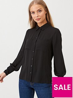v-by-very-essential-pleat-back-formal-blouse-black