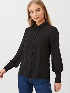 v-by-very-pleat-back-utility-shirtnbsp--black