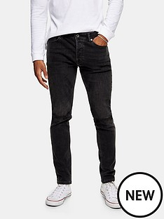 topman-double-knee-rip-skinny-jeans-washed-black