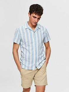 selected-stripe-revere-collar-shirt-bluewhite