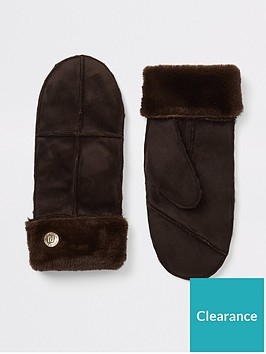 river-island-river-island-faux-fur-trimmed-mittens-dark-brown