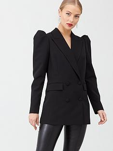 v-by-very-puff-sleeve-double-breasted-blazer-black