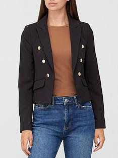 v-by-very-cropped-doublenbspbreasted-button-detail-blazer-black