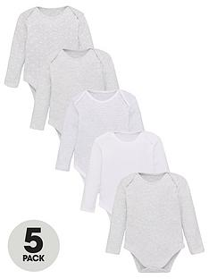 v-by-very-baby-unisex-5-pack-long-sleeve-essential-grey-mix-bodysuits-grey