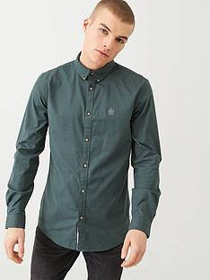 river-island-khaki-long-sleeve-slim-fit-oxford-shirt