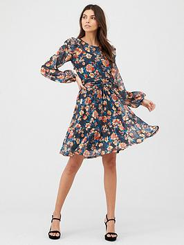v-by-very-mesh-ruched-front-mini-dress-floral