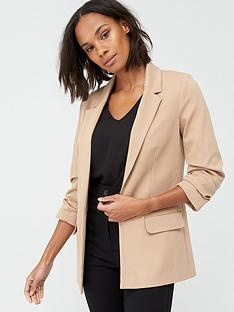 v-by-very-ultimate-ruched-sleeve-blazer-camel