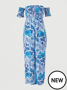 v-by-very-shirred-knot-detail-bardot-beach-jumpsuit-white-print