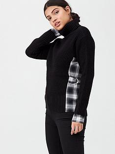 river-island-river-island-hybrid-check-insert-knitted-jumper--black