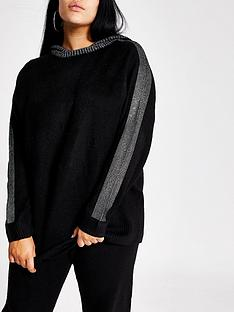 ri-plus-ri-plus-black-diamante-trim-knitted-hoodie--black