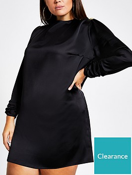 ri-plus-ri-plus-satin-button-detail-high-neck-swing-dress--black