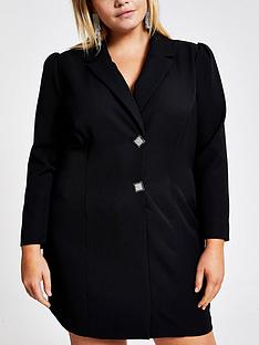 ri-plus-ri-plus-diamante-button-tux-mini-dress-black