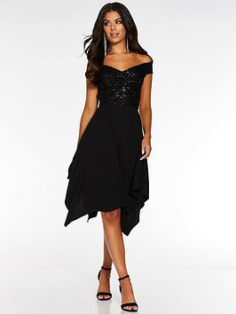 quiz-bardot-hanky-hem-dress-black