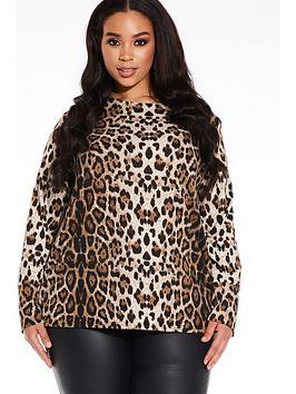 quiz-curve-leopard-print-long-sleeve-light-knit-top-brown-black