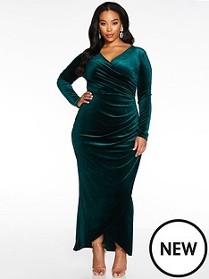 quiz-curve-velvet-ruched-side-wrap-maxi-dressnbsp--bottle-green