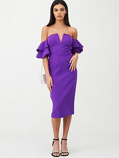 river-island-river-island-ruffle-bardot-sleeve-midi-dress--purple