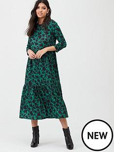 river-island-river-island-printed-long-sleeve-smock-dress--green