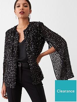 river-island-river-island-long-sleeve-sequin-embellished-cape--black