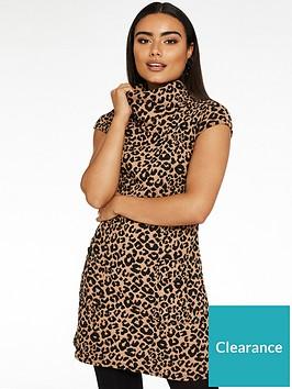 quiz-knit-leopard-roll-neck-tunic-dress-animal