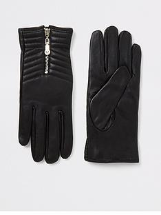 river-island-river-island-boxed-quilted-leather-gloves-black