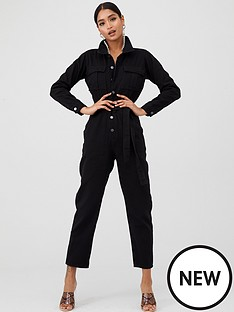 in-the-style-in-the-style-x-fashion-influx-denim-boiler-suit-washed-black