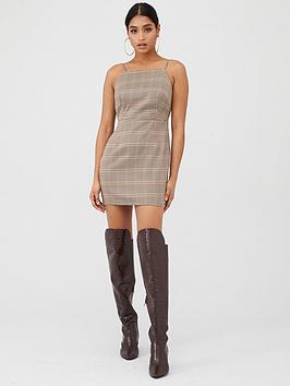 in-the-style-in-the-style-x-fashion-influx-heritage-check-square-neck-mini-dress-brown
