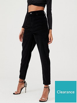 in-the-style-in-the-style-x-fashion-influx-corduroy-mom-jeans-black