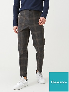 selected-homme-checked-elasticated-waistband-trousers-grey