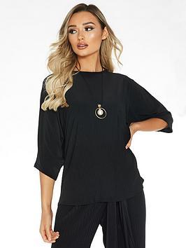 quiz-woven-boxy-necklace-top-black