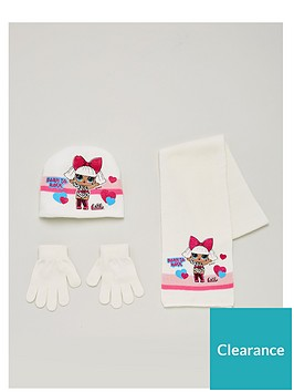 lol-surprise-girls-3-piece-born-to-rock-knitted-hat-scarf-and-gloves-set-cream