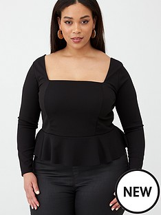 v-by-very-curve-jersey-crepe-peplum-top-black