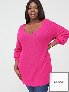 v-by-very-curve-v-neck-longline-jumper-pink