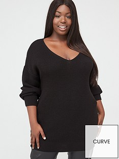 v-by-very-curve-v-neck-longline-jumper-black