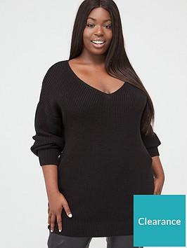 v-by-very-curve-v-neck-longline-jumper-black