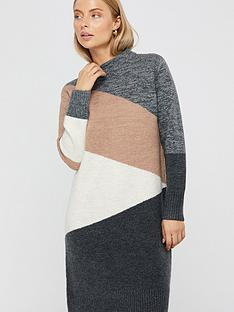 monsoon-carmel-colour-block-dress-grey