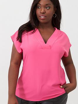 v-by-very-curve-v-neck-blouse-pink